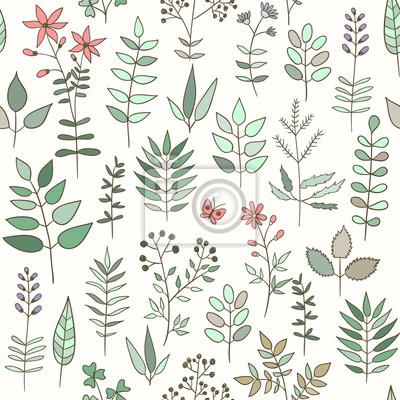 Seamless pattern avec des herbes et des fleurs doodle.