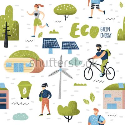 Image Seamless Pattern avec la ville verte. Conservation de l'environnement. Eco City Future Technologies pour la préservation de la planète. Contexte d'écologie d'énergie alternative. Illustrat