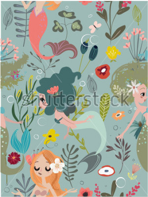 Image Seamless pattern with cartoon mermaids and flowers