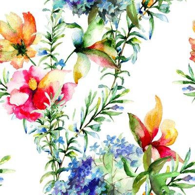 Image Seamless pattern with Decorative summer flowers