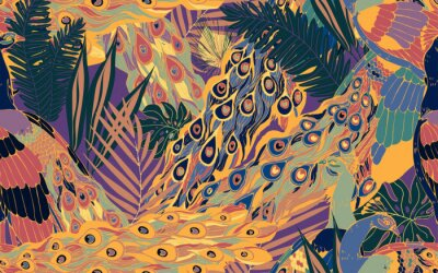 Image Seamless pattern with large blue-green peacock tails and leaves of tropical palm trees.