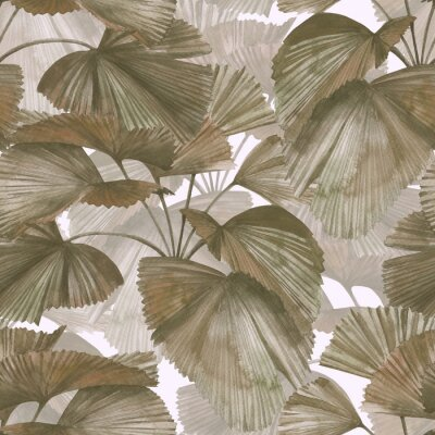 Image Seamless pattern with round fan-shaped palm leaves. Stock illustration