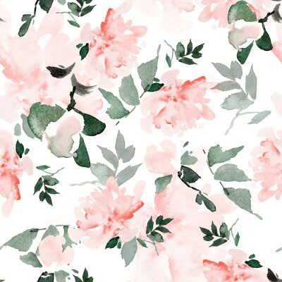 Image Seamless summer pattern with watercolor flowers handmade.