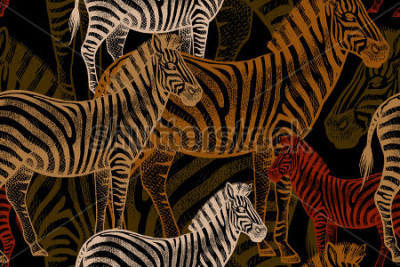 Image Seamless vector pattern with African animals. Colored Zebra on a black background. Template to create fabric, Wallpaper, paper, textiles, curtains, design summer clothes in the style of Safari.