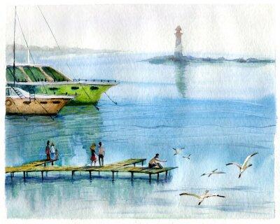 Image Seascape, yachts, aquarelle