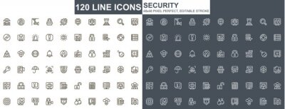 Image Security thin line icons set. Data protection, internet privacy unique design icons. Cybersecurity services, firewall and network safety outline vector bundle. 48x48 pixel perfect linear pictograms.