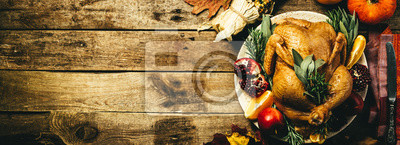 Image Selection of traditional thanksgiving food - turkey, mashed patatoes, green beans, apple pie on rustic background