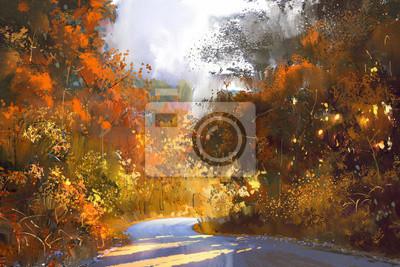 Sentier Par Colore Foret Automne Paysage Peinture Illustration Peintures Murales Tableaux Le Paysage Feuille De Chute Saison D Automne Myloview Fr