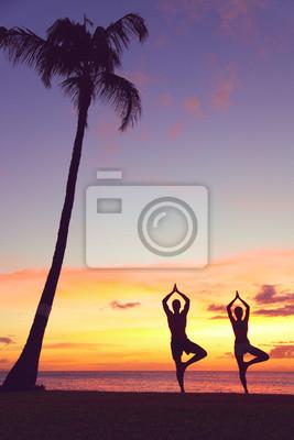 Sereine gens de yoga formation au coucher du soleil dans l'arbre posent