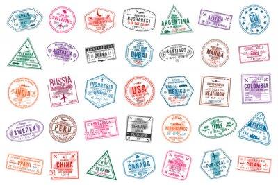 Image Série de timbres de visa de voyage pour les passeports. Timbres de bureau internationaux et d'immigration. Timbres de visa d'arrivée et de départ