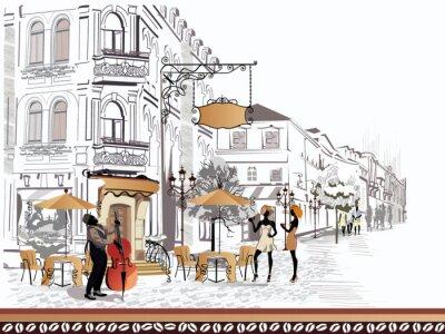 Image Série de vues de la rue avec des personnes dans la vieille ville