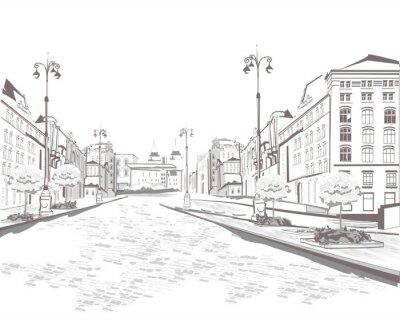 Image Série de vues de la rue dans la vieille ville, croquis