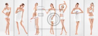 Image Sertie de jeune femme sur fond clair. Beauté et soin du corps