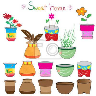 Set De Pots De Fleurs Colorees Des Pots De Fleurs Vectorielle