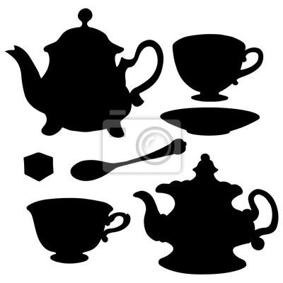 Set icône théières, tasses à thé, cuillère, soucoupe et sucre