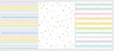 Image Set of 3 Cute Abstract Geometric Vector Patterns. Light Multicolor Design. Stripes, Triangles and Waves. White Background. Irregular Infantile Style Waves. Blue, Pink, Yellow, Green and White Design.