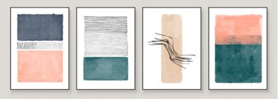 Image Set of Abstract Hand Painted Illustrations for Wall Decoration, Postcard, Social Media Banner, Brochure Cover Design Background. Modern Abstract Painting Artwork. Teal and Peach Vector Pattern.