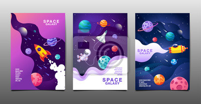 Image set of banner templates. universe. space. space galaxy, design. vector illustration