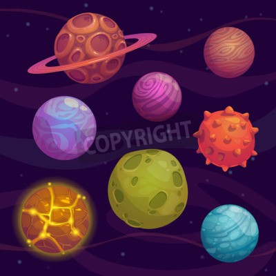 Image Set of cartoon fantastic planet on space background