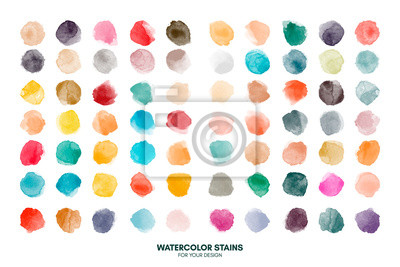 Image Set of colorful watercolor hand painted round shapes, stains, circles, blobs isolated on white. Illustration for artistic design