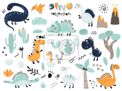 Image Set of cute dinosauts, foliage, volcano, cactus