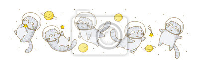 Image Set of cute scottish fold cats astronauts isolated on white background