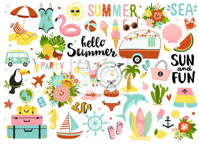 Image Set of cute summer elements: sun, palm tree, beach umbrella, calligraphy, tropical flowers and birds. Perfect for summertime poster, card, scrapbooking , tag, invitation, sticker kit.