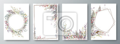 Image Set of four invitation or greeting card design decorated with flowers.