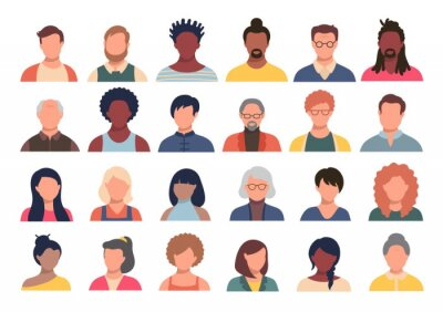 Image Set of persons, avatars, people heads of different ethnicity and age in flat style. Multi nationality social networks people faces collection.
