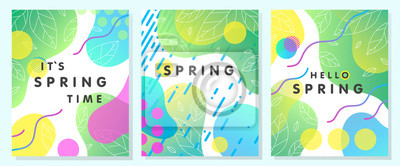 Image Set of unique spring cards with bright gradient backgrounds,tiny leaves,fluid shapes and geometric elements in memphis style.Abstract layouts perfect for prints,flyers,banners,invitations,covers.