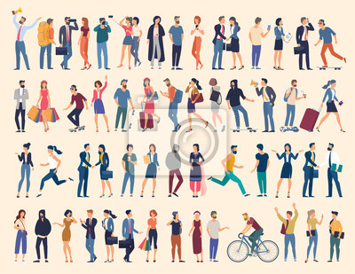 Image Set of vector ready to animation people characters performing various activities. Group of men and women flat design style cartoon characters isolated on white background.
