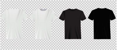 Image Set of white and black t-shirts on a transparent background. Classic shirts, casual wear.