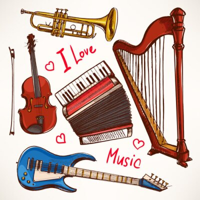 Image Set with hand-drawn Musical instruments