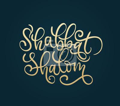 shabbat shalom main illustration de lettrage avec des éléments