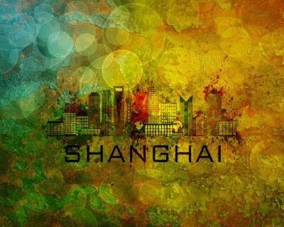 Image Shanghai, ville, Horizon, Grunge, fond, Illustration