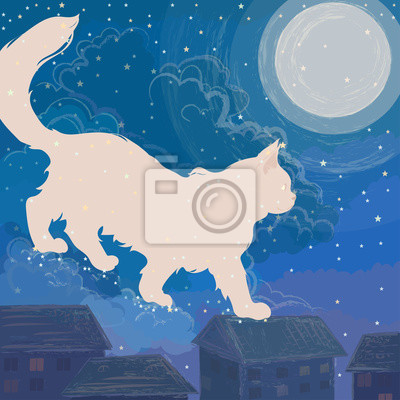 shining moon cat walks through the night sky among the moon, stars, clouds and roofs