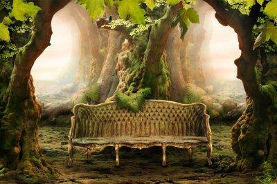 Image siège romantique dans une forêt profonde