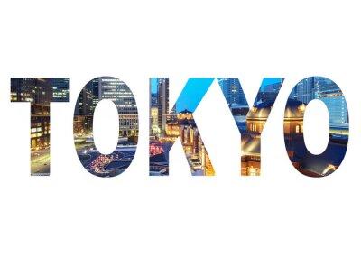 Image Signe de nom de ville de Tokyo avec la photo dans l'arrière-plan. Isolé sur fond blanc ..