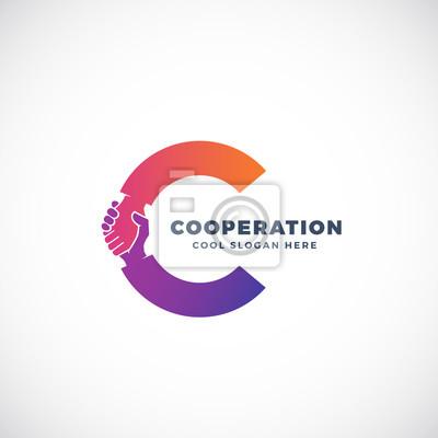 Image Signe de vecteur abstrait de coopération, symbole ou modèle de logo.  Hand Shake 0031cbffaa61