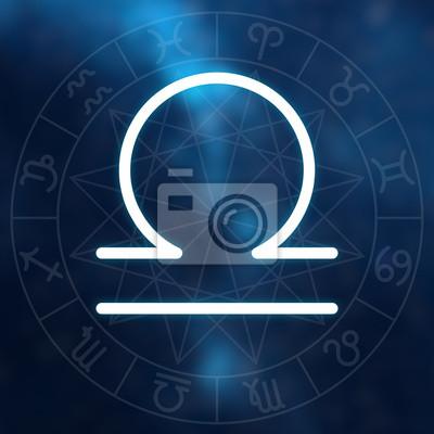 Signe du zodiaque - Balance. Blanc mince simple ligne symbole astrologique