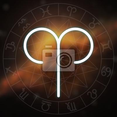Signe du zodiaque - Bélier. Blanc mince simple ligne symbole astrologique