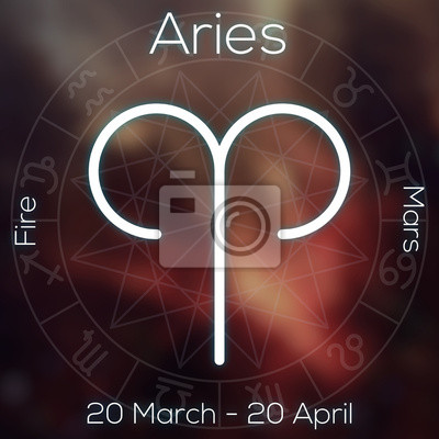 Signe du zodiaque - Bélier. Ligne blanche symbole astrologique avec la légende