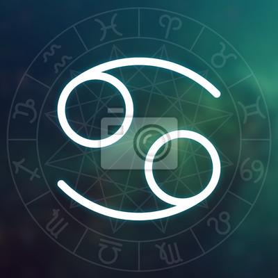 Signe du zodiaque - Cancer. Blanc mince simple ligne symbole astrologique