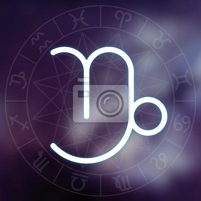 Signe du zodiaque - Capricorne. Blanc mince ligne symbole astrologique
