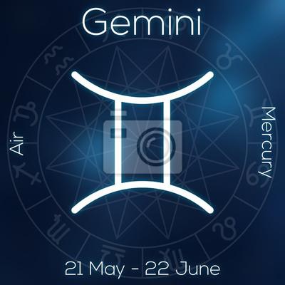 Signe du zodiaque - Gémeaux. Ligne blanche symbole astrologique