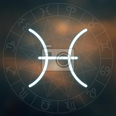 Signe du zodiaque - Poissons. Blanc mince simple ligne symbole astrologique