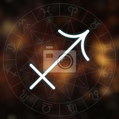 Signe du zodiaque - Sagittaire. Blanc mince ligne symbole astrologique