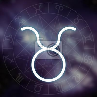 Signe du zodiaque - Taureau. Blanc mince simple ligne symbole astrologique