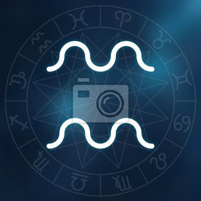 Signe du zodiaque - Verseau. Blanc mince ligne symbole astrologique