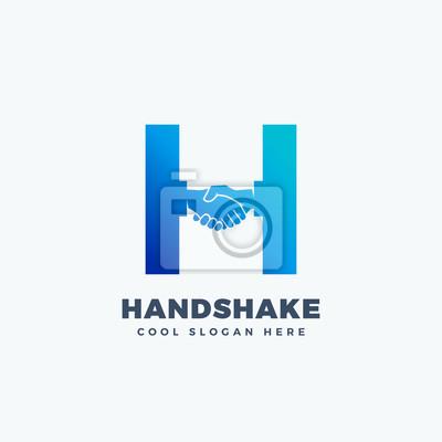 Image Signe vectoriel abstrait, symbole ou logo. Hand Shake Incorporated  dans la lettre H 4cefd3b0771d